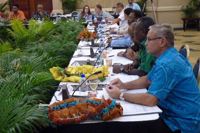 Reserve Bank of Fiji Governor Barry Whiteside (front-right) is pictured during the 2014 AFI Pacific Islands Working Group meeting.