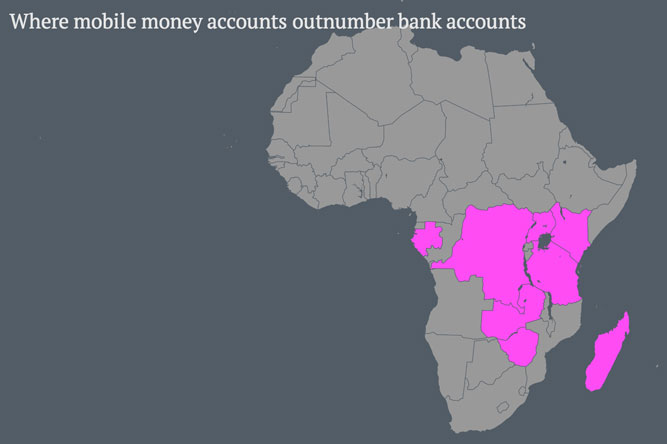 Where mobile money accounts outnumber bank accounts in Africa.