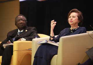 Zeti Akhtar Aziz participates in a panel session at the 2013 Global Policy Forum in Malaysia.