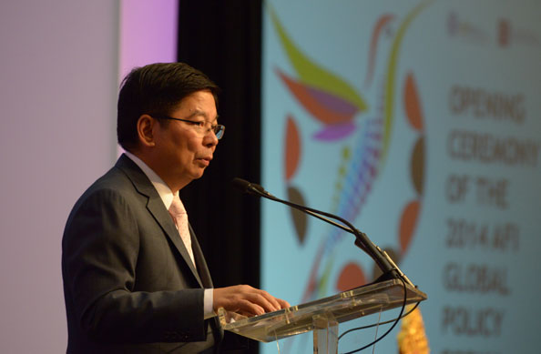 Governor Amando Tetangco, Jr. speaks at the 2014 Global Policy Forum last September in Trinidad and Tobago.