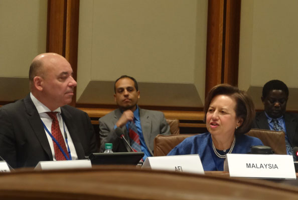 AFI Executive Director Alfred Hannig, left, looks on as Bank Negara Malaysia Governor Zeti speaks in the seventh annual G24-AFI Policymakers' Roundtable in Washington D.C. in April 2015.