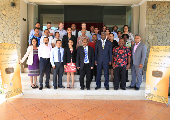 Members of the Pacific Islands Regional Initiative (PIRI) pose for a group photo in Dili, Timor-Leste, on 6 May 2015.