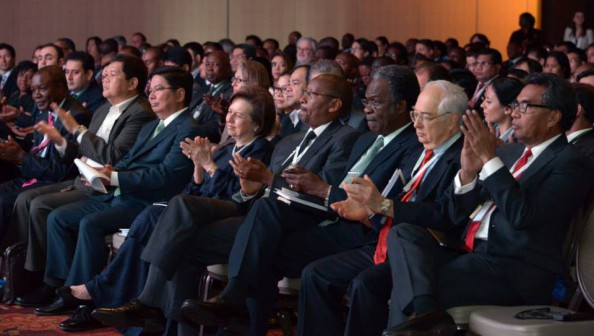 High-level policymakers from the AFI Network attend the 2014 Global Policy Forum in Trinidad and Tobago.