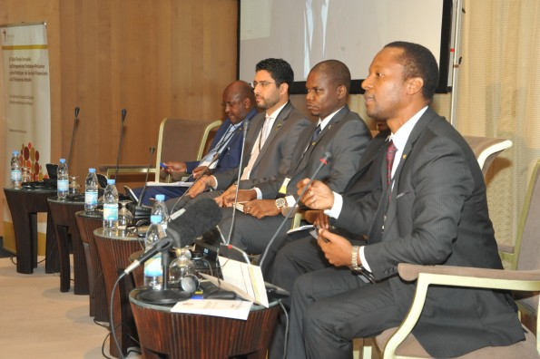 Panelists from the AFI network discuss promoting financial inclusion in Africa via digital financial services at the 4th Annual AMPI Leaders' Roundtable in Dakar in February 2016.